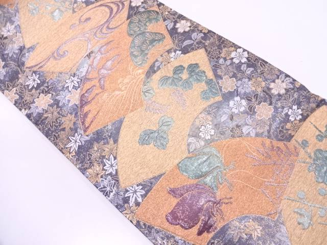 【IDN】 地紙に松・草花模様織出し袋帯【リサイクル】【中古】【着】