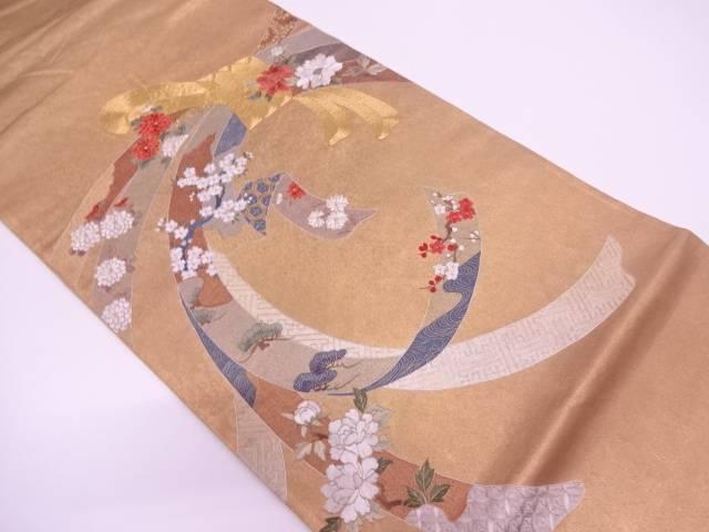 【IDN】 本金箔束ね熨斗に松梅・草花模様刺繍袋帯【リサイクル】【中古】【着】