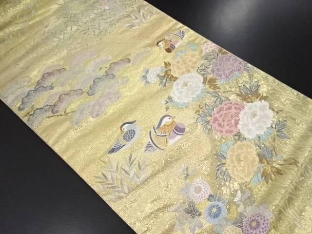 【IDN】 本金箔鴛鴦に松牡丹草花模様織り出し袋帯【リサイクル】【中古】【着】