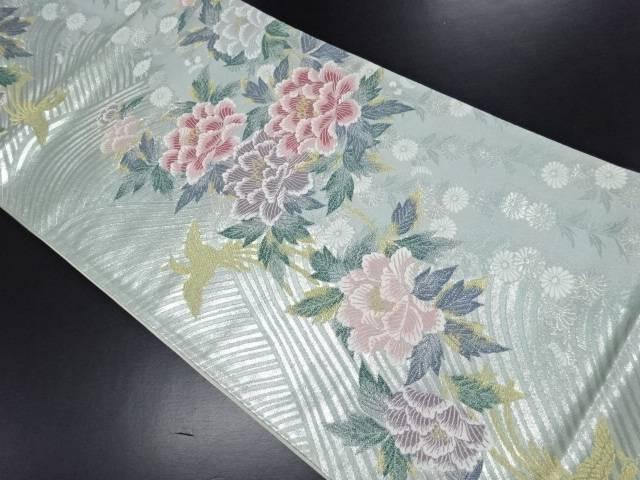 【IDN】 銀糸牡丹に菊鳳凰模様織り出し袋帯【リサイクル】【中古】【着】