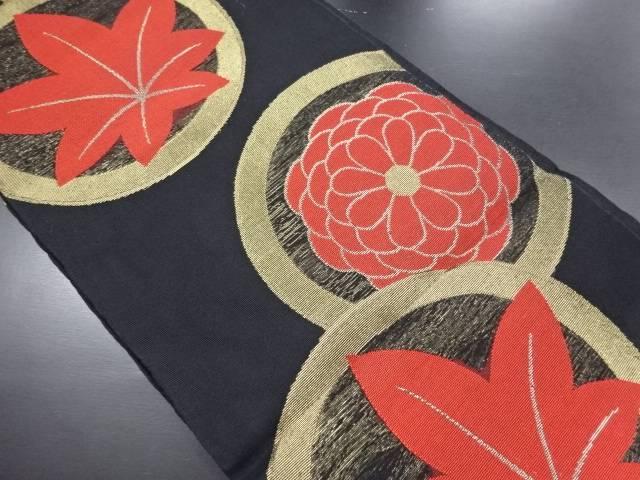 【IDN】 紗丸紋に菊楓模様織り出し袋帯【リサイクル】【中古】【着】