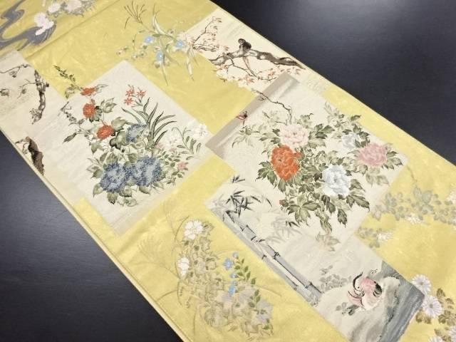 【IDN】 本金箔十二ヶ月花鳥図織り出し袋帯【リサイクル】【中古】【着】