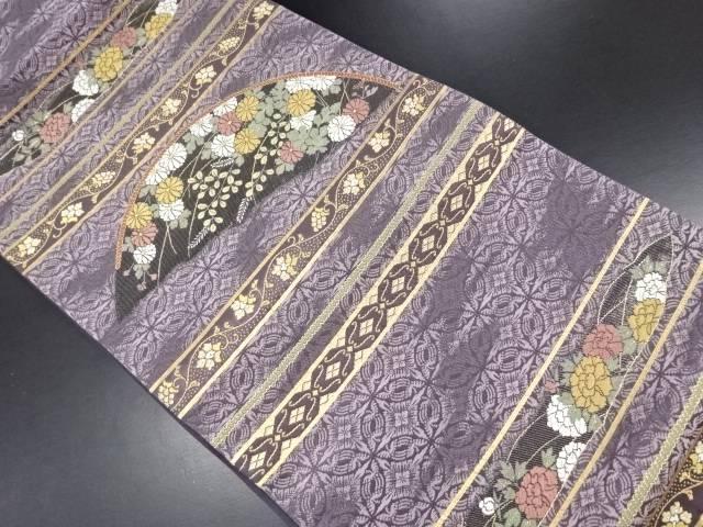 【IDN】 金糸横段に萩・菊模様織り出し漆袋帯【リサイクル】【中古】【着】