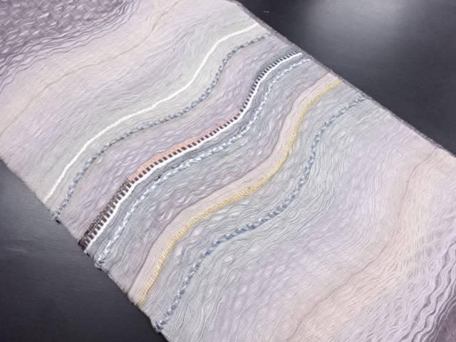 【IDN】 紗すくい織横段模様織り出し洒落袋帯【リサイクル】【中古】【着】