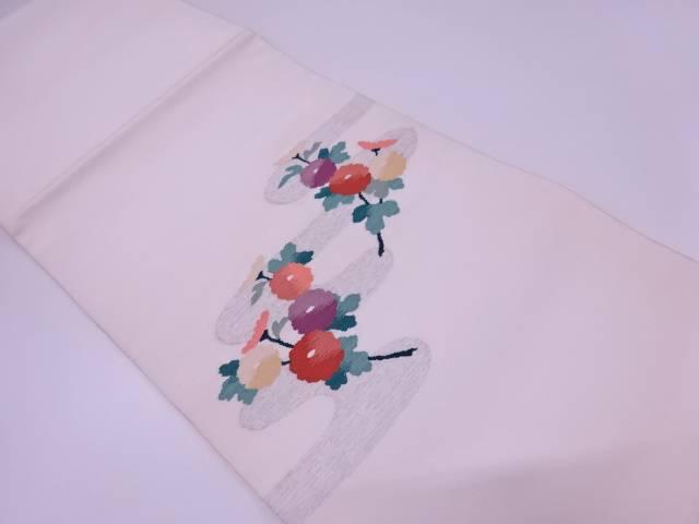 【IDN】 未使用品 綴れ流水に菊模様織出し袋帯【リサイクル】【着】