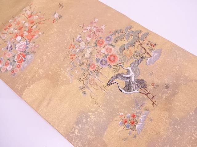 【IDN】 本金箔流水に双鶴・草花模様織出し袋帯【リサイクル】【中古】【着】
