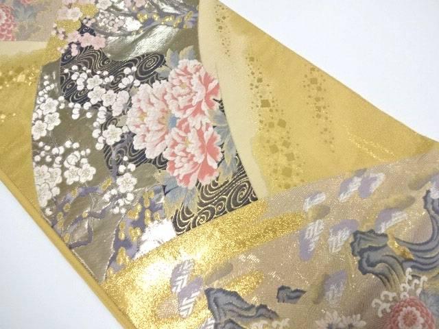 【IDN】 袋帯 金箔金糸 地紙取りに花文様【リサイクル】【中古】【着】