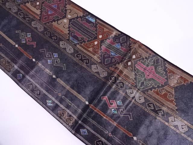 【IDN】 未使用品 螺鈿縞に抽象花模様袋帯【リサイクル】【着】