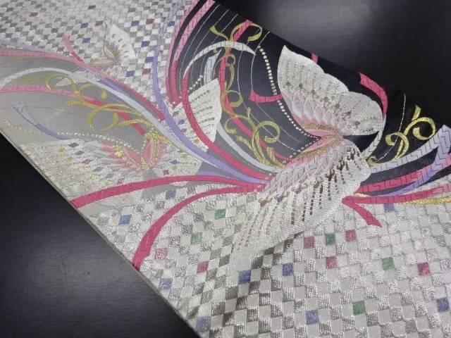 【IDN】 銀糸蝶に斜め市松模様織り出し袋帯【リサイクル】【中古】【着】