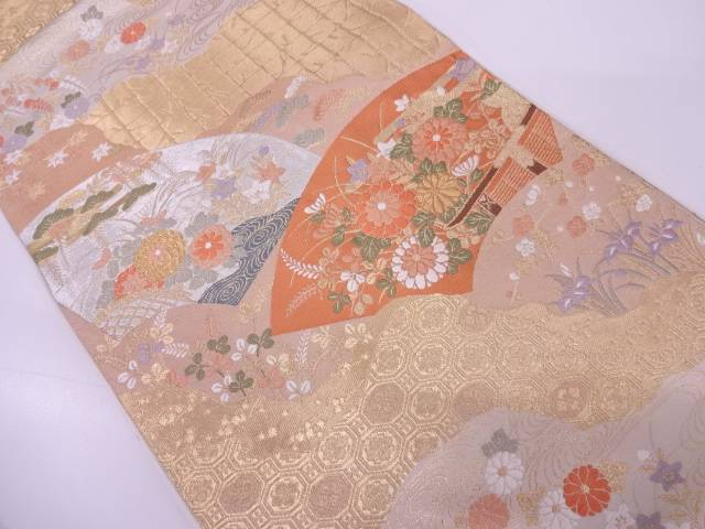 【IDN】 服部織物製 道長取りに地紙・草花模様織出し袋帯【リサイクル】【中古】【着】