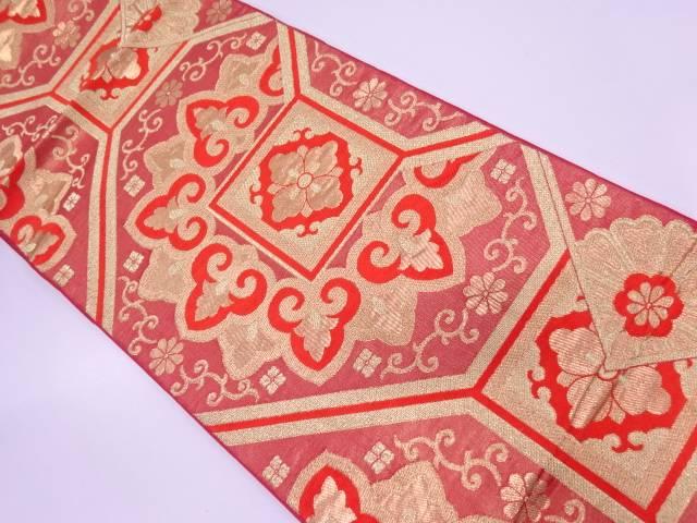 【IDN】 川島織物製 蜀江文に花唐草模様織出し袋帯【リサイクル】【中古】【着】