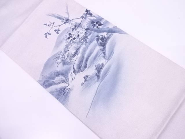 【IDN】 未使用品 作家物 手描き山並に家屋・水車模様袋帯【リサイクル】【着】