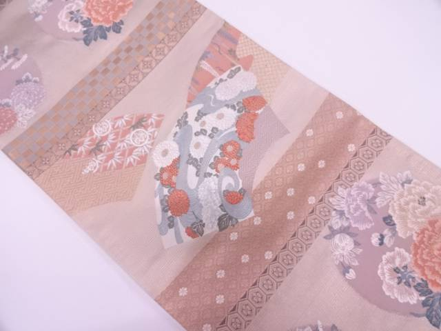 【IDN】 地紙に流水・草花模様織出し袋帯【リサイクル】【中古】【着】
