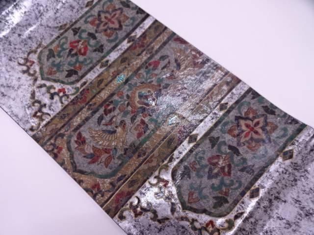【IDN】 引き箔螺鈿横段に花鳥模様袋帯【リサイクル】【中古】【着】