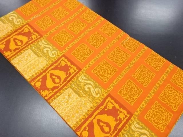 【IDN】 未使用品 横段に花更紗模様織り出し名古屋帯【リサイクル】【着】