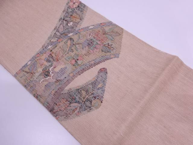【IDN】 絵巻物に草花模様織出し夏用袋帯 【リサイクル】【中古】【着】