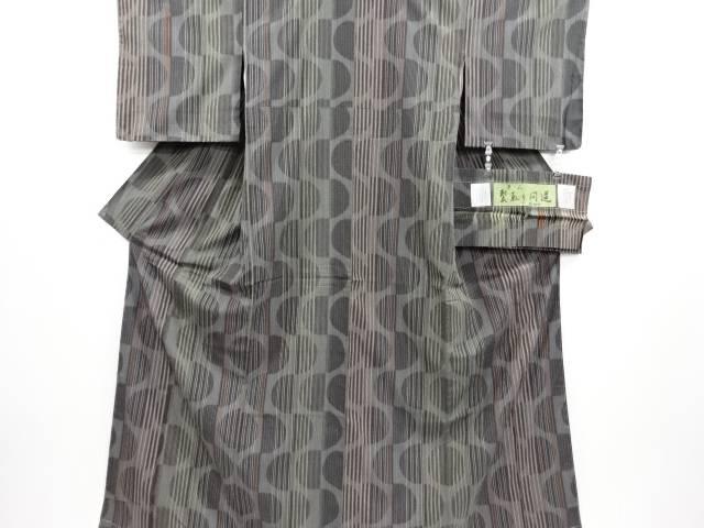 【IDN】 未使用品 縞に変わり丸模様織り出しお召着物【リサイクル】【着】