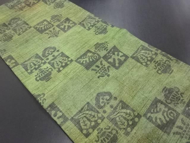 【IDN】 市松に宝尽くし模様織り出し暈し全通袋帯【リサイクル】【中古】【着】