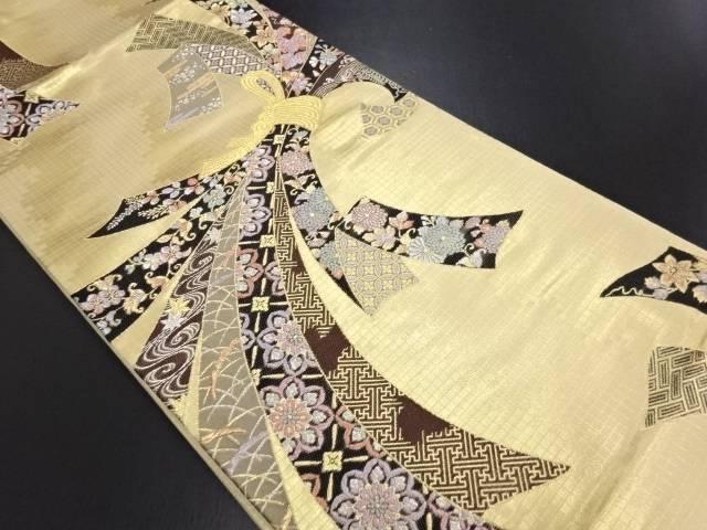 【IDN】 本金箔束ね熨斗に花・古典柄織り出し袋帯【リサイクル】【中古】【着】