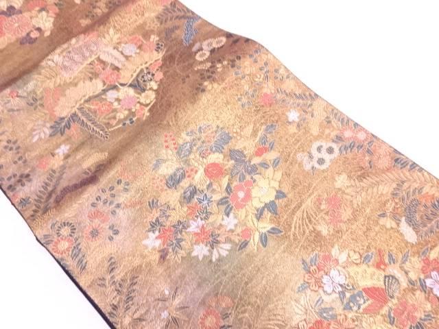 【IDN】 引箔草花に蝶模様織出し袋帯【リサイクル】【中古】【着】