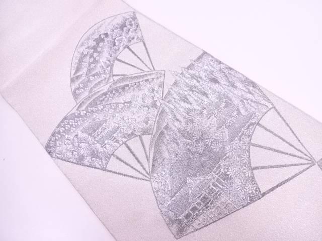 【IDN】 高野栄一製 綴れプラチナ箔扇に清水寺模様織出し袋帯【リサイクル】【中古】【着】