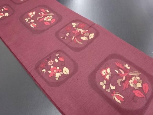 【IDN】 未使用品 色紙に花鳥模様織り出し袋帯【リサイクル】【着】