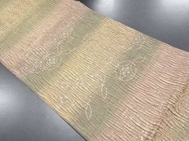 【IDN】 金糸すくい織花七宝模様織り出し袋帯【リサイクル】【中古】【着】