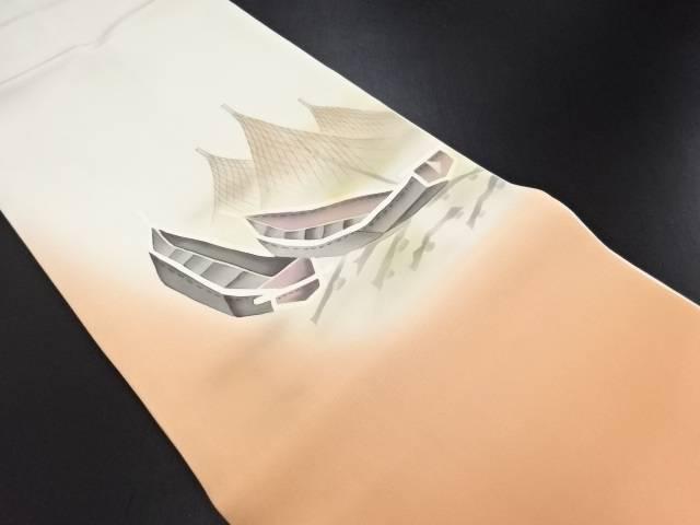【IDN】 作家物 塩瀬手描き小舟に網干模様名古屋帯【リサイクル】【中古】【着】