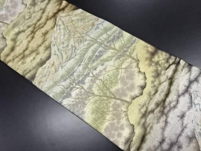【IDN】 金銀糸 遠山に木立模様織り出し袋帯【リサイクル】【中古】【着】