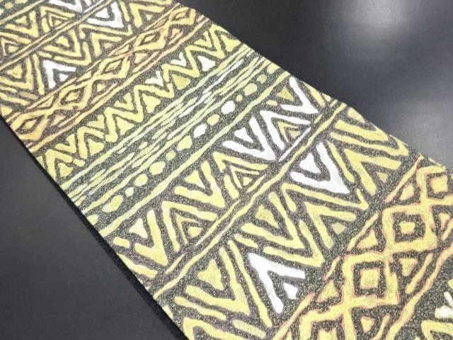 【IDN】 未使用品 タケダ商事製 金銀糸 幾何学模様織り出し袋帯【リサイクル】【着】