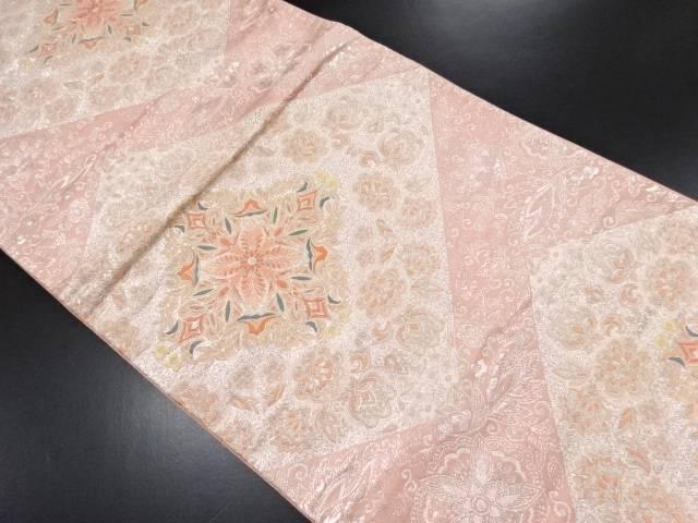 【IDN】 菱華紋に花唐草模様織り出し袋帯【リサイクル】【中古】【着】