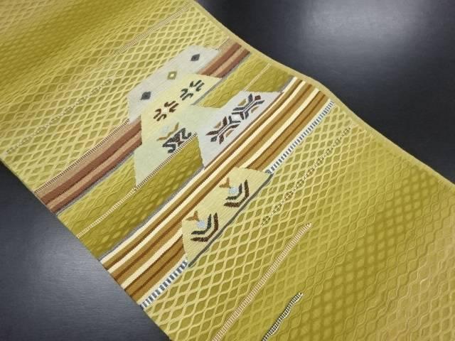 【IDN】 紗 すくい織 変わり横段に抽象花模様織り出し袋帯【リサイクル】【中古】【着】
