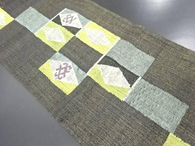 【IDN】 未使用品 本金 すくい織 幾何学模様織り出し洒落袋帯【リサイクル】【着】
