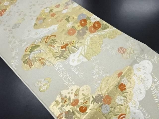 【IDN】 引箔雲に菊・松・梅模様織り出し袋帯【リサイクル】【中古】【着】