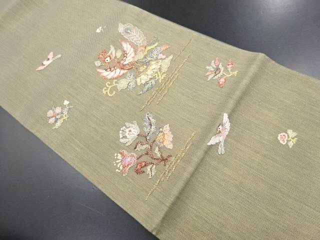 【IDN】 螺鈿鳳凰に花更紗模様刺繍袋帯【リサイクル】【中古】【着】