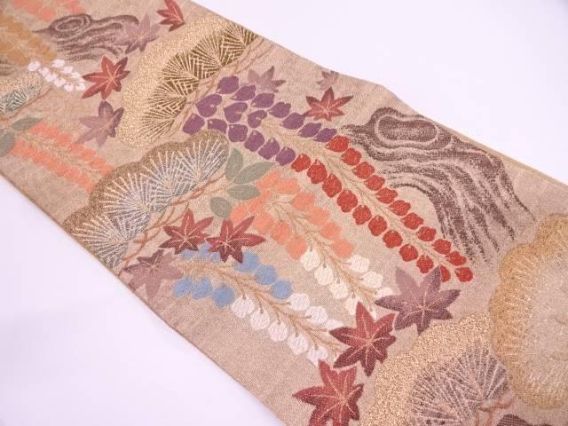 【IDN】 AB 松に紅葉・藤模様織出し袋帯(未仕立て)【リサイクル】【中古】【着】