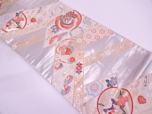 【IDN】 松笹に鳳凰・花鳥模様織出し袋帯【リサイクル】【中古】【着】