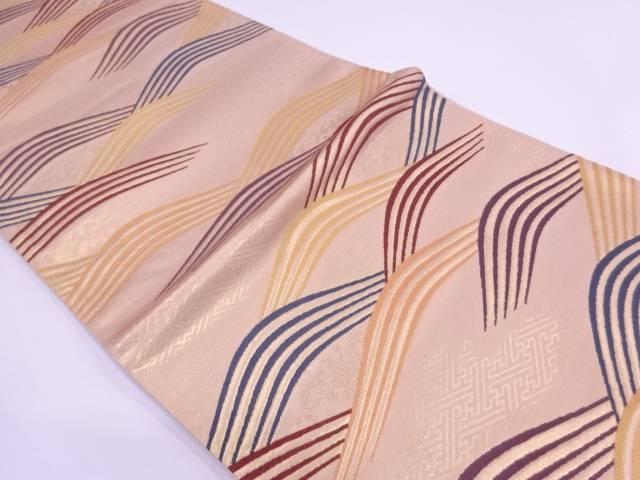 【IDN】 未使用品 AB 宇野機業製 立波模様織出し袋帯(未仕立て)【リサイクル】【着】