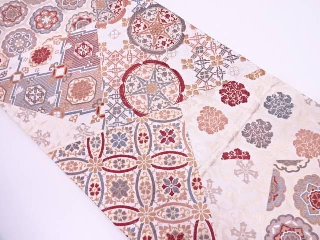 【IDN】 唐織切嵌風花に古典柄模様織出し袋帯【リサイクル】【中古】【着】