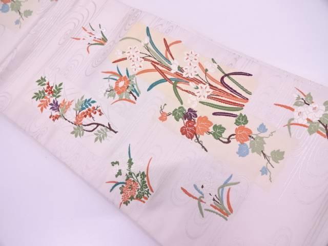 【IDN】 短冊に草花・流水模様織出し袋帯【リサイクル】【中古】【着】