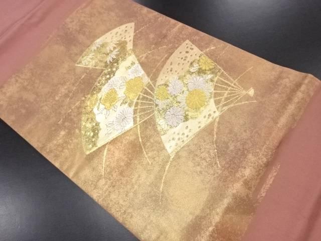 【IDN】 花扇模様織り出し名古屋帯【リサイクル】【中古】【着】