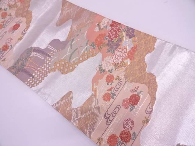 【IDN】 道長取に草花・古典柄模様織出し袋帯【リサイクル】【中古】【着】