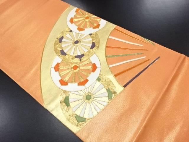 【IDN】 扇面に源氏車模様刺繍袋帯【リサイクル】【中古】【着】