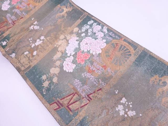 【IDN】 未使用品 じゅらく製 引箔花車に松梅模様織出し袋帯【リサイクル】【着】