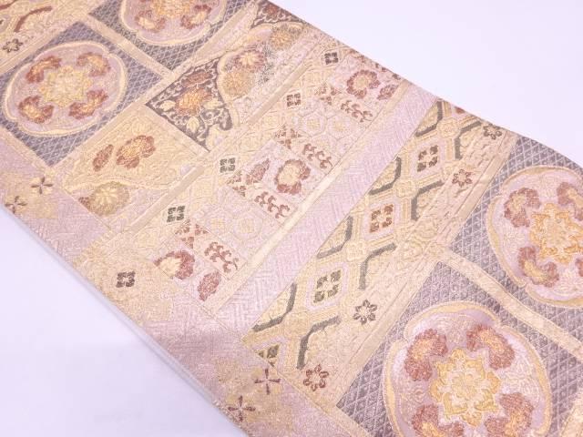 【IDN】 草花に古典柄模様織出し袋帯【リサイクル】【中古】【着】