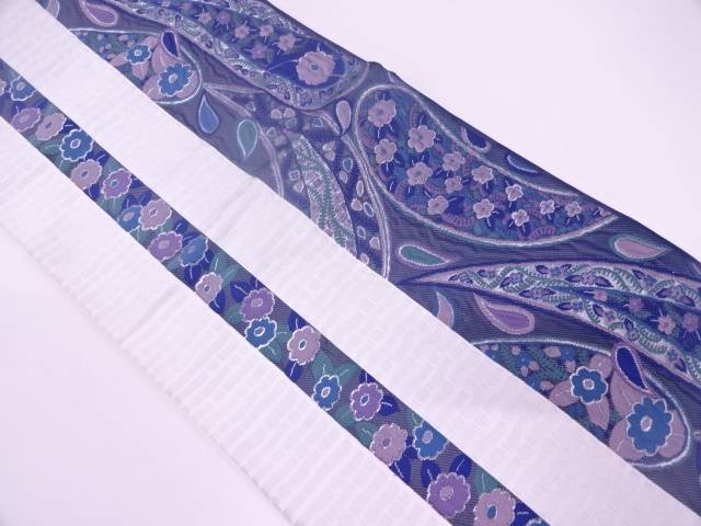 【IDN】 未使用品 纐纈縞に花唐草模様織出し袋帯【リサイクル】【着】