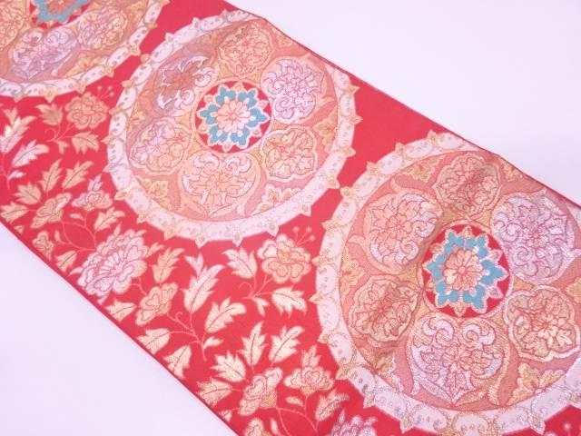 【IDN】 川島織物製 絵皿に草花模様織出し袋帯【リサイクル】【中古】【着】