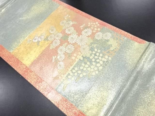 【IDN】 引箔螺鈿 横段に菊模様袋帯【リサイクル】【中古】【着】