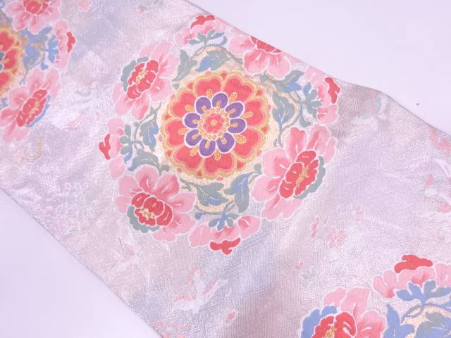 【IDN】 紗綾形に華紋模様織出し袋帯【リサイクル】【中古】【着】