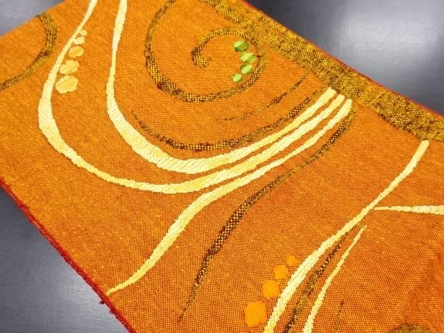 【IDN】 未使用品 手織り真綿紬抽象模様織り出し名古屋帯【リサイクル】【着】